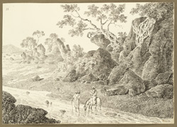 View of rocks and a stream near the encampment at Pinarcoon (Bihar). 16 February 1823.